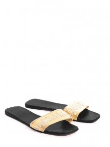 Gold leather flat mules sandals Retail price €350 Size 38