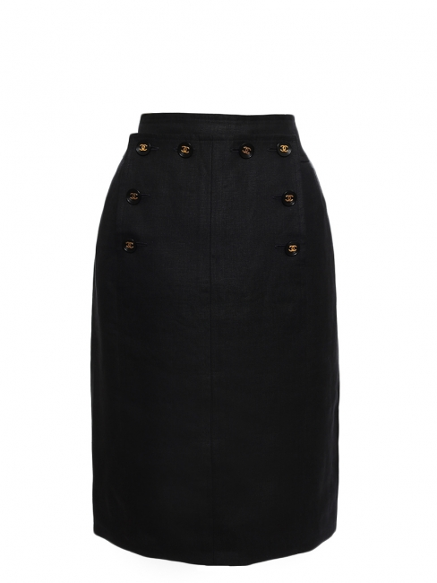 High waist black linen sailor skirt with gold buttons Retail price €1800 Size XS/S