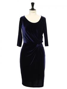 Robe drapée en velours bleu nuit Prix boutique 250€ Taille 36