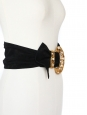 Black suede leather large belt with jewel buckle Size XS