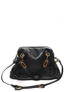 Black diamond embossed leather PARATY Medium cross body bag NEW Retail price €1500