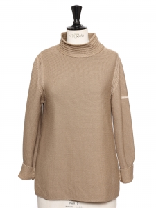 Nutmeg brown pure new wool sweater Retail price €130 Size 36