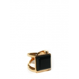 Bague CARMIN dorée et pierre noire carrée NEUVE Prix boutique 270€ Taille 54