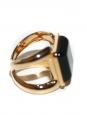 Bague CARMIN dorée et pierre noire carrée Prix boutique 270€ Taille 54