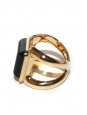 CARMIN Black square stone ring in gold-tone brass Retail price €270 Size 54