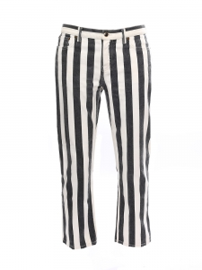 Black and white striped cropped jeans Retail price $930 Size 40