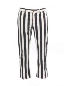 Jean cropped en coton rayé noir et blanc Prix boutique 800€ Taille 40