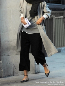 Chaussures plates GIA à bouts pointus en cuir noir Prix boutique 420€ Taille 38,5