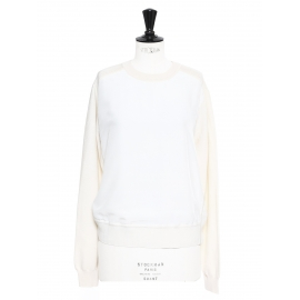 Cream and white silk and wool fine knit sweater Retail price €850 Size S/M