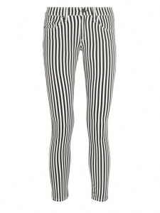 CAPRI Black and white cropped striped skinny jeans Retail price €165 Size XS