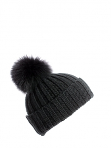 Dark green wool knitted beanie hat with fur bobble Size S
