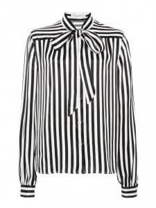 Black and white striped pussy-bow blouse Retail price €250 Size M/L