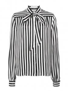 Blouse à lavallière rayée noir et blanc Prix boutique 250€ Taille 38