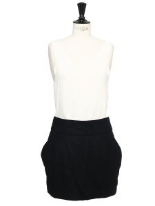 Black wool felt mini skirt Size 38