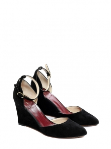 Black suede wedge pumps with ankle strap Retail price €590 Size 38