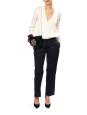 Midnight blue cotton straight cut pants Retail price €190 Size 38