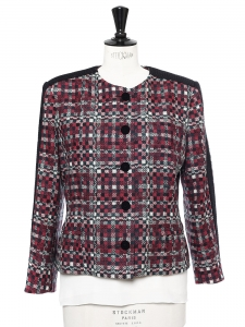 Checked wool tweed blazer jacket Retail price €1500 Size 38