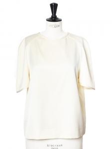 Top blouse manches courtes en satin de soie crème ivoire Prix boutique 650€ Taille 40