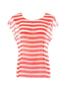 Top manches courtes en soie rayée blanc et rouge vif Prix boutique 480€ Taille 38