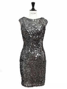 Silver grey sequined mini Cocktail dress Retail price €400 Size S