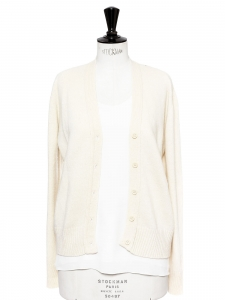 Off white cream pure Shetland wool cardigan Size 36