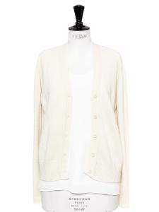 Gilet manches longues en pure laine Shetland blanc crème Taille 36