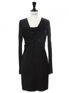 Robe fourreau drapée en angora mélangé noir Prix boutique 500€ Taille 36
