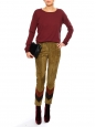 Khaki brown, red and purple suede leather slim fit pants Retail price €1400 Size XS