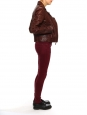 Burgundy brown leather biker jacket Retail price €2200 Size 38