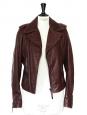 Veste perfecto biker en cuir d'agneau rouge bordeaux Prix boutique 2200€ Taille 38