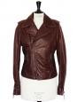 Burgundy brown leather biker jacket Retail price €2200 Size 38