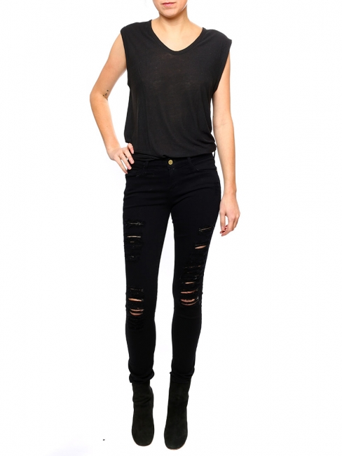 LE SKINNY DE JEANNE Black distressed denim jeans Retail price €270 Size XS