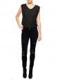 Pantalon LE SKINNY DE JEANNE en coton stretch noir lacéré NEUF Prix boutique 270€ Taille XS
