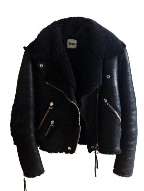 9837b2bb55215 RITA Black shearling aviator biker jacket Retail price €1900 Size 36