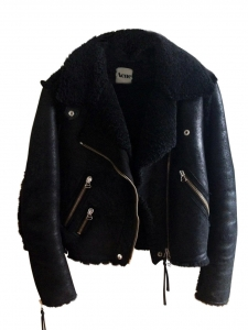 RITA Black shearling aviator biker jacket Retail price €1900 Size 36