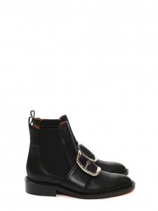 Bottines TINA en cuir noir et grosse boucle argent NEUVES Prix boutique 1100€ Taille 39
