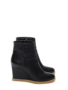 Black leather wedge heeled ankle boots NEW Retail price €255 Size 37