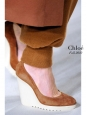 Camel brown suede leather ankle strap rubber wedge shoes Retail price €550 Size 36.5
