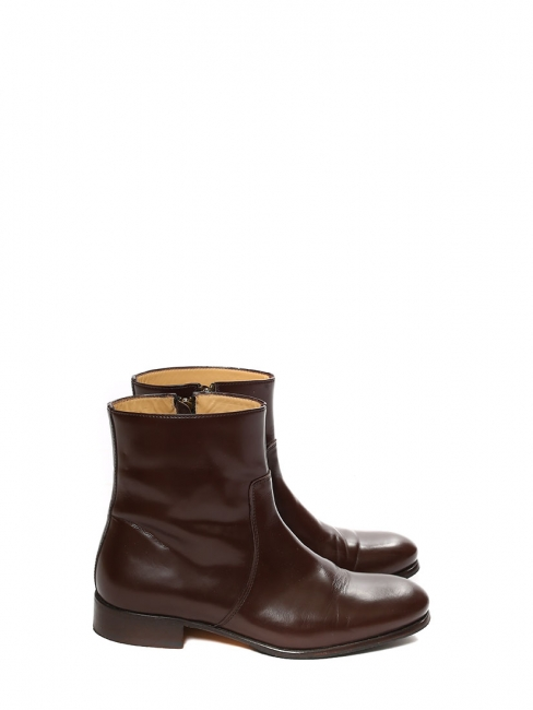 Brown glazed leather RICHARDS ankle boots Retail price €320 Size 39