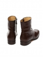 Brown glazed leather ankle boots Retail price €320 Size 39