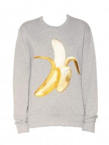 Sweatshirt CASEY en coton gris imprimé banane NEUF Prix boutique 300€ Taille