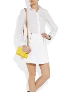 Jupe trapèze CASTLE à zips en jean blanc Px boutique $220 Taille 38