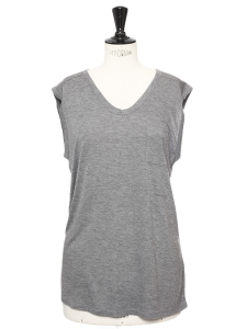 Sleeveless light grey round neck t-shirt NEW Size XS