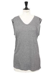 T-shirt sans manche en jersey gris clair NEUF Taille 36