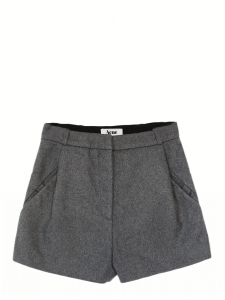 MACAU Heather grey wool felt shorts Retail price €207 Size 36
