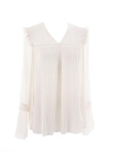 Blouse manches longues en voile plissée blanc ivoire Px boutique €320 Taille 38