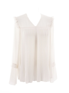 Long sleeves ivory white pleated crepe de chine blouse retail price €320 Size 38