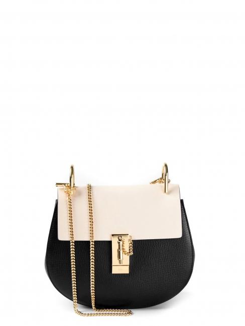Sac DREW medium en cuir noir et blanc chaîne dorée Prix boutique 1500€
