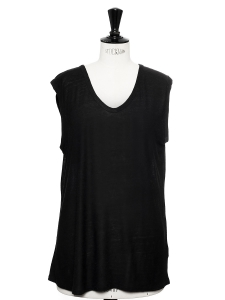 Black jersey scoop neck sleeveless shirt NEW Retail price €95 Size XS