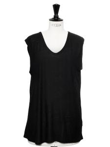 T-shirt sans manche en jersey noir NEUF Taille 36